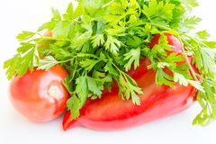 Pepper, tomato and parsley Royalty Free Stock Image