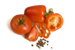 Pepper, tomato and spice Stock Photos