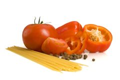 Pepper, tomato, spice and macaroni Royalty Free Stock Images