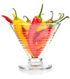 Pepper vegetable fruits in glass vase isolated Stock Images