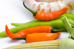 Pepper in vegetable group. Red and green pepper in vegetable group on white back ground Royalty Free Stock Image