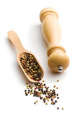 Pepper and wooden pepper mill Stock Photos