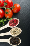 Pepper in wooden spoon Royalty Free Stock Photo