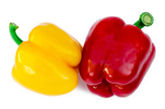 Pepper the yellow and red. Isolated stock photo