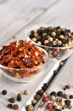 Peppercorn and Crushed Chilli Pepper Royalty Free Stock Photo
