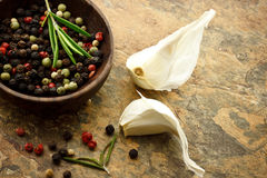 Peppercorn and Garlic Royalty Free Stock Images