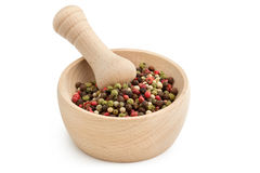 Peppercorn mix in mortar Royalty Free Stock Image