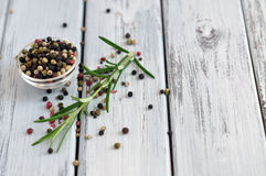 Peppercorn and Rosemary Royalty Free Stock Photos