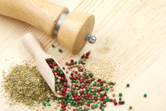 Peppercorn, sesame, dried herbs Stock Photo