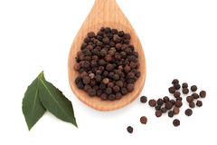 Peppercorns and Bay Leaf Herb Royalty Free Stock Images