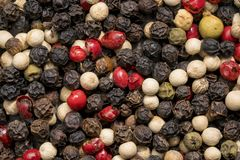 Peppercorns. Close up shot of different colored peppercorns Stock Photo
