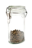 Peppercorns in glass jar Royalty Free Stock Photography