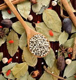 Peppercorns herbs and spices. Stock Photo