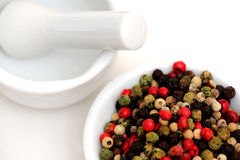 Peppercorns With Mortar And Pestle Royalty Free Stock Photography