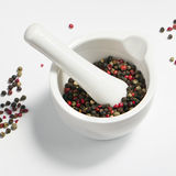 Peppercorns in a mortar Royalty Free Stock Image