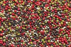 peppercorns Préparation de poivre Grains de poivre fond, texture Vue supérieure images stock