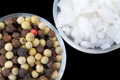Peppercorns and Raw Sea Salt Stock Image