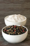 Peppercorns and Sea Salt Royalty Free Stock Photography
