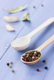 Peppercorns, sea salt in a wooden spoon Stock Photo