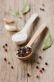 Peppercorns, sea salt in a wooden spoon with garlic Stock Image