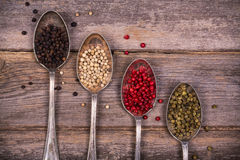 Peppercorns in silver spoons Royalty Free Stock Photo