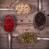 Peppercorns in silver spoons Stock Photos