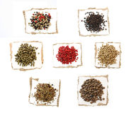 Peppercorns Spices on paper Stock Photos
