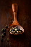 Peppercorns on wooden spoon Stock Images