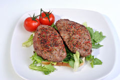 peppered lamb grill steak and organic tomato Stock Photography