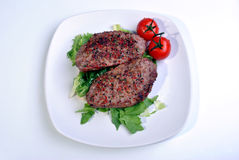 peppered lamb grill steak and organic tomato Stock Photo