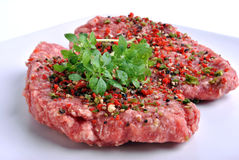 Peppered lamb grill steak on a white plate Stock Photography