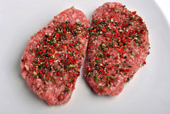 peppered lamb grill steak on a white plate Stock Image