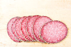 Peppered salami Royalty Free Stock Image