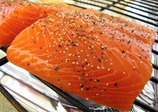 Peppered salmon prepped to cook Royalty Free Stock Photo