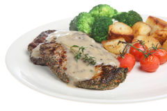 Peppered Sirloin Steak Dinner. Peppered sirloin steak with mushroom sauce and sauteed potatoes Royalty Free Stock Photos