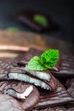 Peppermint σοκολάτας μπισκότα Μέντα peppermint μέντα Μαύρη σοκολάτα με peppermint την κρέμα Μαύρη σοκολάτα με το γέμισμα μεντών Στοκ Εικόνα