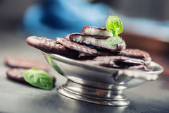 Peppermint σοκολάτας μπισκότα Μέντα peppermint μέντα Μαύρη σοκολάτα με peppermint την κρέμα Μαύρη σοκολάτα με το γέμισμα μεντών Στοκ Εικόνες