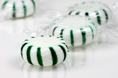 Peppermint Candies. Close-up of green and white striped peppermint candies Stock Image