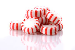 Peppermint Candies on a White Background Stock Photo