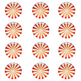 Peppermint Candy Background. Pattern of red and white striped round peppermint candy wallpaper background isolated on white background Stock Photo