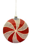 Peppermint Candy Christmas Ornament. Red and White Peppermint Candy Christmas Ornament royalty free stock images