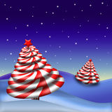 Peppermint Candy Christmas Tree. 3D peppermint candy shaped as a Christmas Tree against a blue background with white stars vector illustration