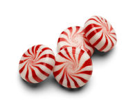 Peppermint Candy. Four Pieces of Peppermint Candy With Swirls on White Background royalty free stock image