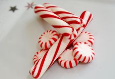 Peppermint candy. Hard peppermint candy,  and candy canes Stock Images