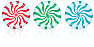 Peppermint Candy. Red, Green, and Blue Peppermint Candy with a Shadow and Reflection Stock Photos
