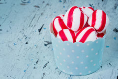 Peppermint candy on rustic setting Royalty Free Stock Photos