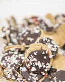 Peppermint chocolate cookies. A pile of delicious peppermint chocolate cookies waffers Stock Images