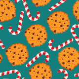 Peppermint Christmas candy and cookies pattern. Sweet festive ba Stock Images