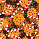 Peppermint Christmas candy and cookies pattern. Sweet festive ba Stock Photography