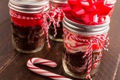 Peppermint Cupcakes σοκολάτας σε ένα βάζο στοκ φωτογραφία